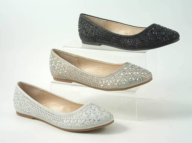 Divine Diamante Flat Ballerina Shoes