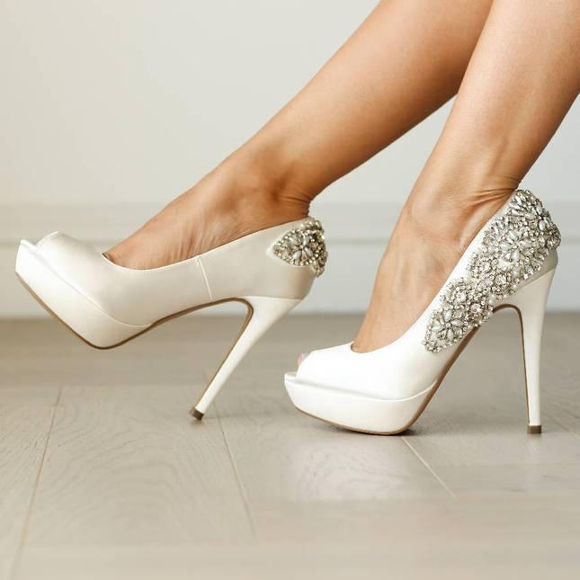 Satin 'Indulgence' High Heel Platform Peep Toe Shoes