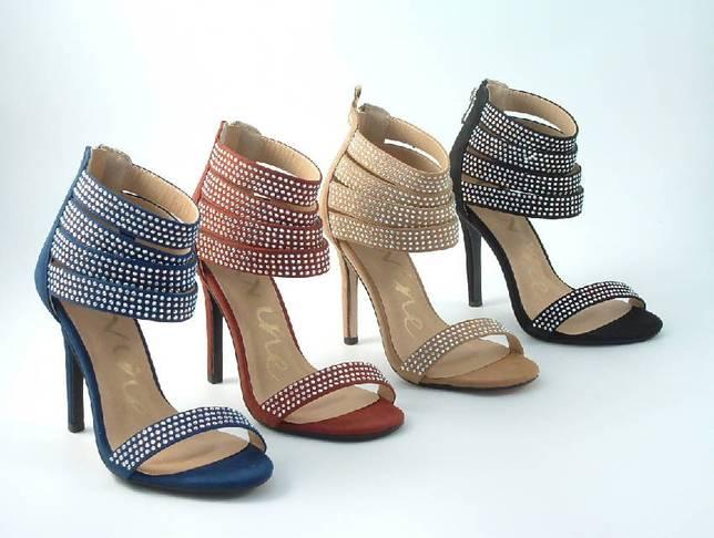 Diamante Faux Suede Strap Heeled Sandals